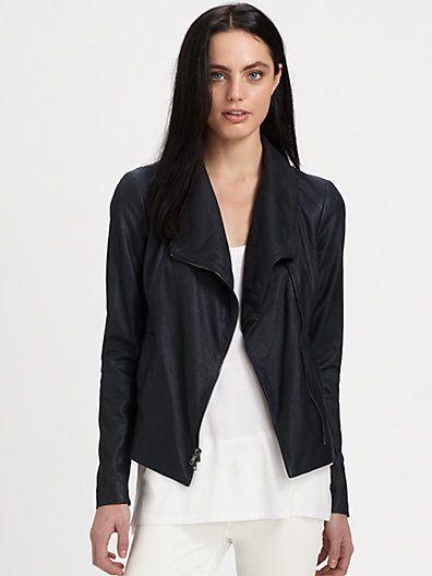 Vince - Matte Leather Scuba Jacket - Saks.com - Vince leather jackets