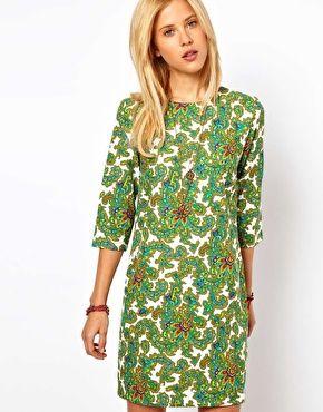 Asos Green Patern shift dress