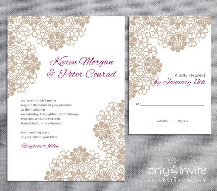 Brown Lace Wedding Invitation Set Personalized Elegant Lace Invite