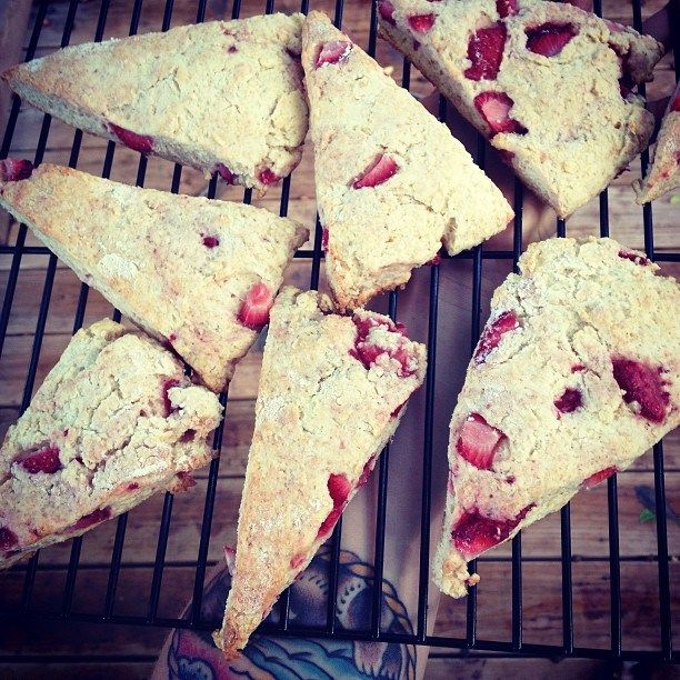 Strawberry & Ricotta Whole Wheat Scones | seasonal foods | Pinterest