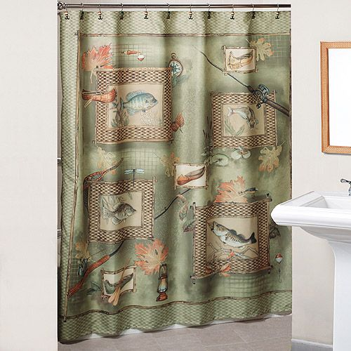Fishing shower curtain with bonus hooks for Fish shower curtains