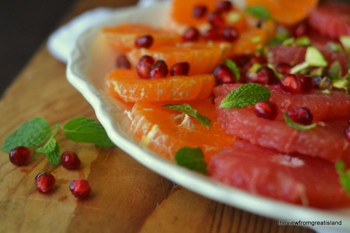 Citrus salad with pomegranate and pistachio
