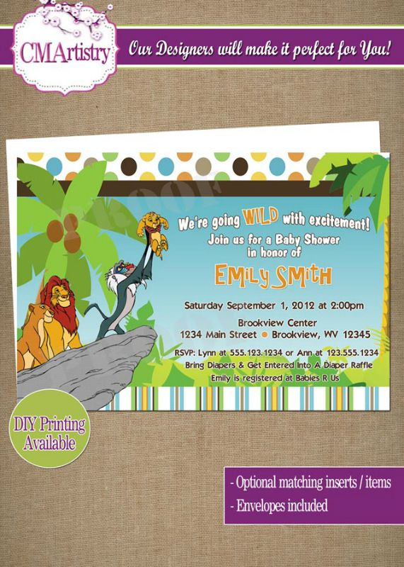 personalized lion king baby shower invitations