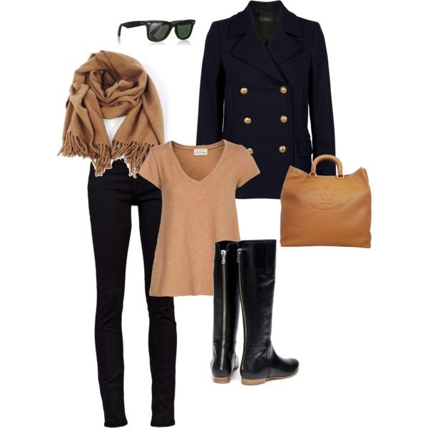 Stylisj black coat,jeans,knee long boots,brown t.shirt,scarf and handbag