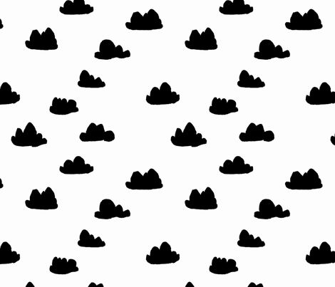 Clouds - White and Black fabric by andrea_lauren on Spoonflower - custom fabric