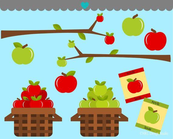 Fruit Clip Art - Bunch of Apples Clip Art - Digital Apples Clipart