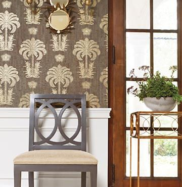 Dining room paper w wainscoting home pinterest