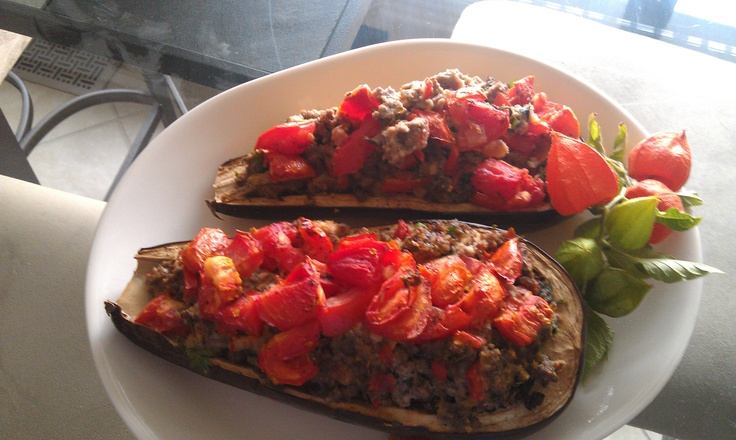 tasty stuffed eggplant delight--hubby gave me a 5 star on this one ...