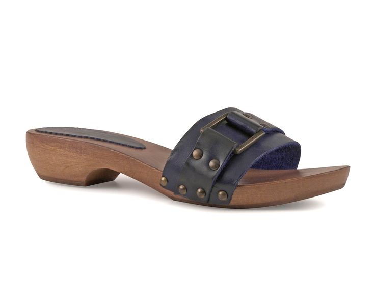 Blue women's wooden mules clogs with metal buckle - Italian Boutique ...