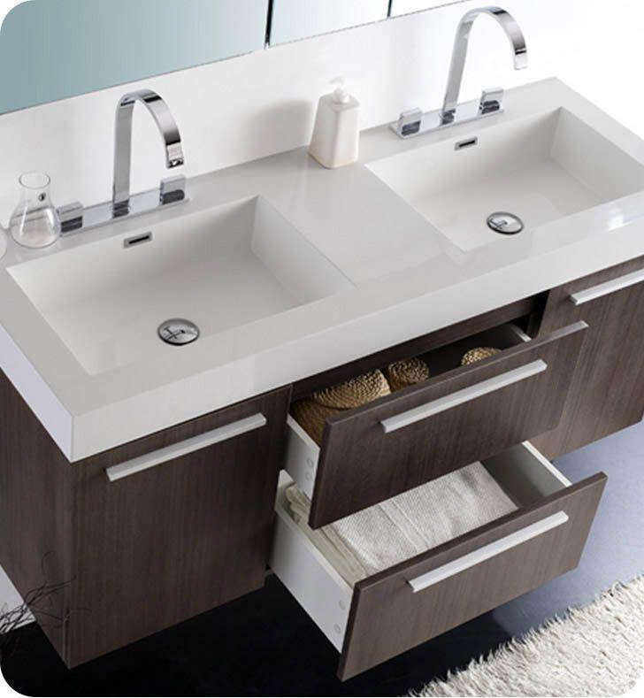54 Opulento Double Sink Vanity Gray Oak