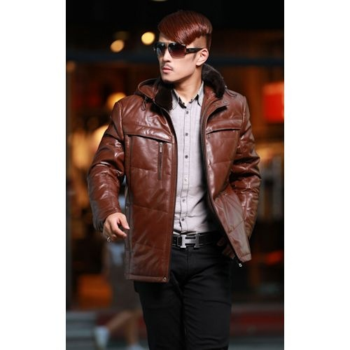 Buy Brown Leather Hooded Winter Warm Dress Down Coat Clothing for Men SKU-116120