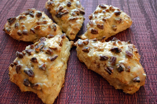Flavors by Four: Banana Bread Scones with Brown Butter Glaze