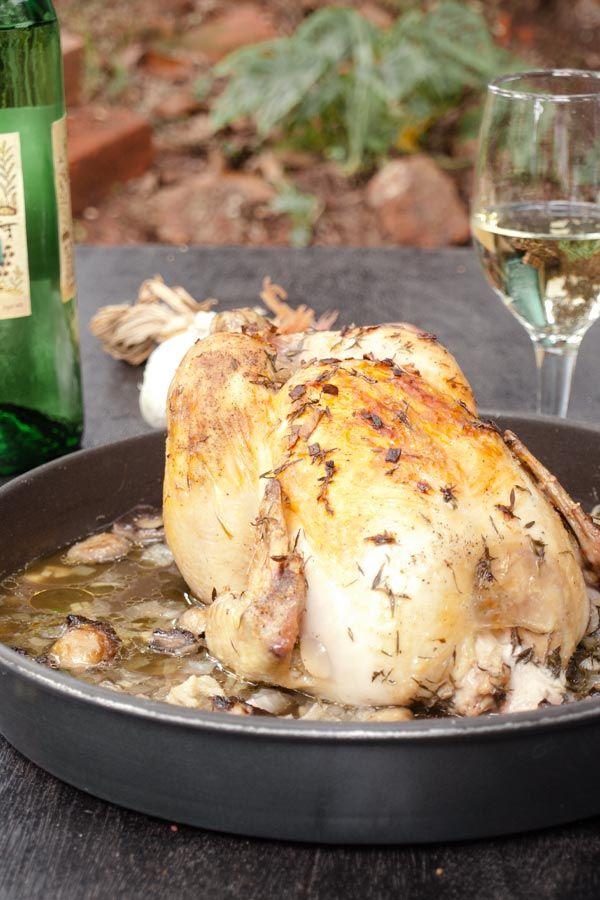 Easy Roast Chicken Recipe with fresh Thyme, Garlic and Mushrooms