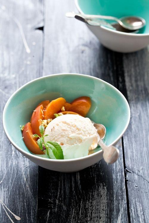 lemon verbena ice cream with poached peaches