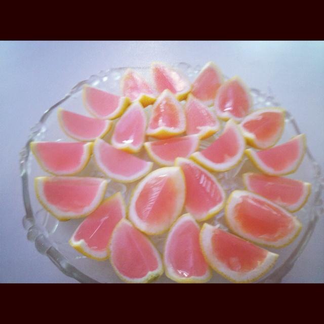 Pink lemonade jello shots :) HARD to make (gutting the lemons/lime is ...