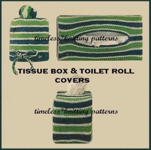 Vintage knitting pattern for tissue box covers & toilet roll cover