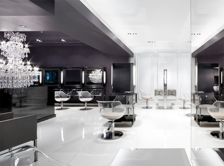 gray black white kerastase salon design pinterest