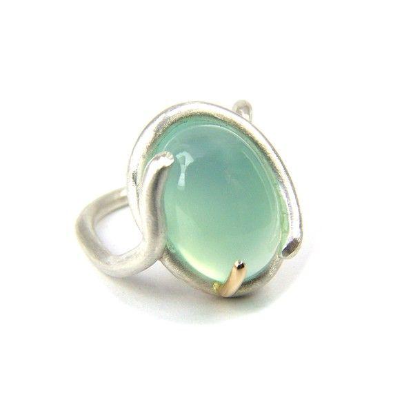 Silver 14K Gold Aqua Chalcedony Ring Elven Pond
