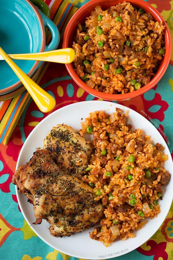 Chicken and Chorizo Rice   tablefortwoblog.com