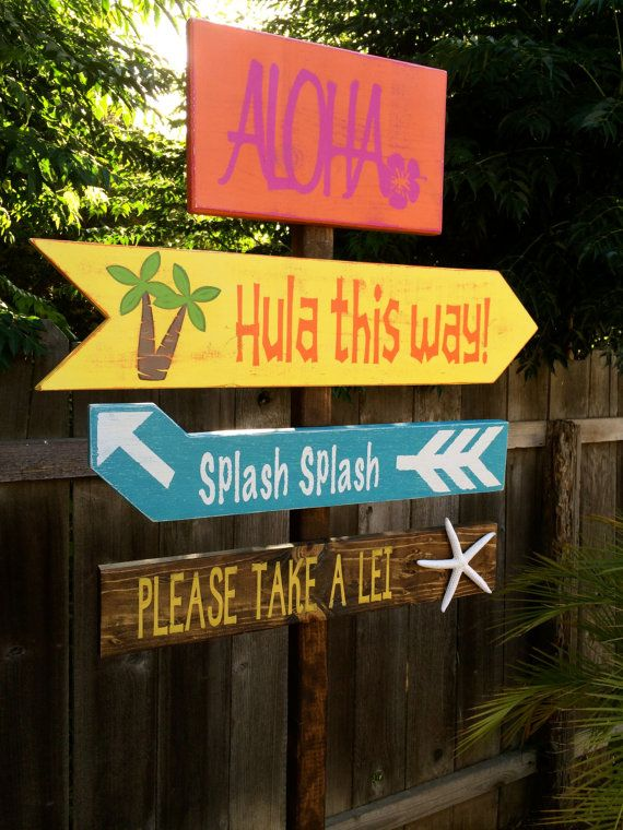 Luau decorations luau directional signs party signs for How to make luau decorations at home
