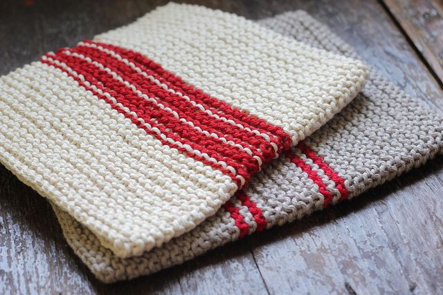 Knitted Cotton Dish Towel Pattern : dish towels knit by catparty, via Flickr Knit Pinterest
