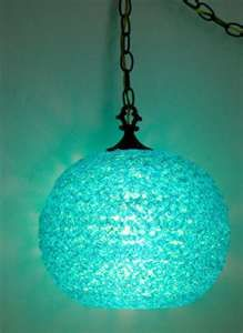Vintage Turquoise Lucite Spaghetti Swag Lamp