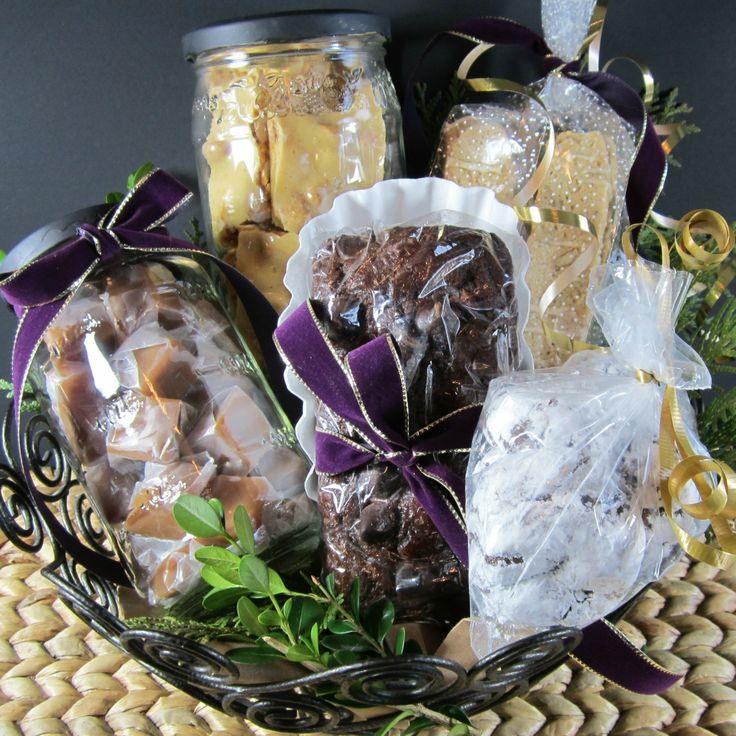 Gift Basket: Caramels, Microwave Peanut Brittle, Maple Walnut Biscotti ...