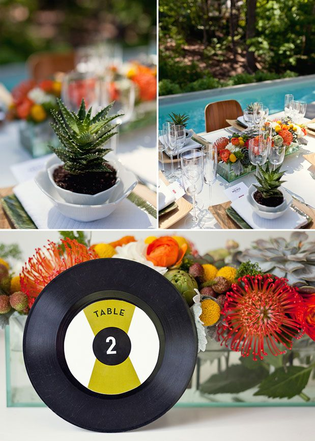Vinyl record table numbers party decorations pinterest for Record decoration ideas