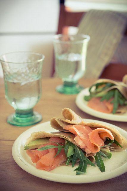 Buckwheat scallion pancakes with Irish smoked salmon, avocado and ...