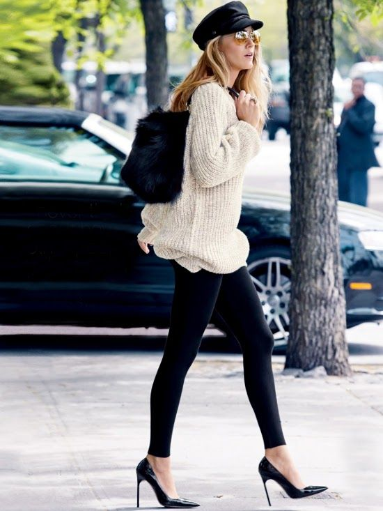 blake lively in H sweater & cap | manolo blahnik heels