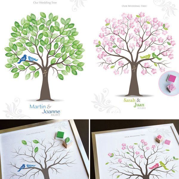Stamped guest book trees are a less messy alternative to thumbprint trees