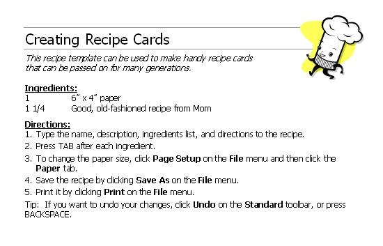 microsoft office recipe card template - 28 images - 13 recipe card