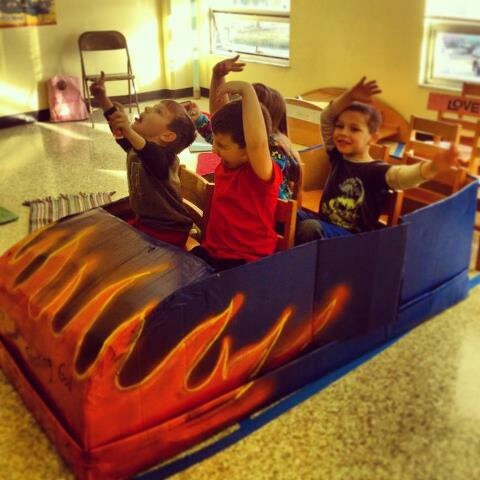 Tiny roller coaster cars made from boxes would need bigger for big