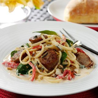 Creamy Linguine with Sausage and Spring Vegetables