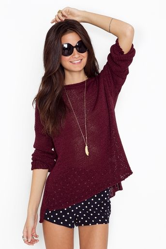 Navy and white spotted shorts with burgundy jumper