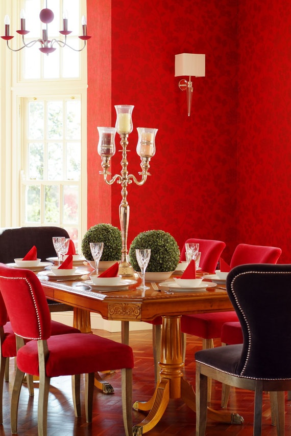 Fab red room, love the wallpaper. E-Design service. €0.50, via Etsy.