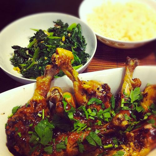 Asian Glazed Drumsticks, Sautéed Kale and Microwaved Sticky Rice