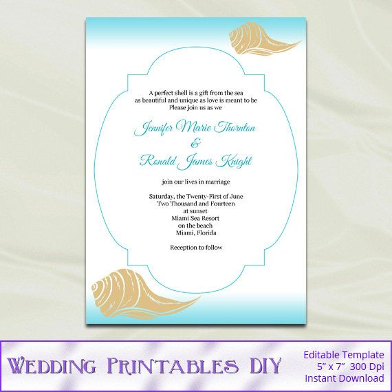Diy Destination Beach Wedding Invitations Templates