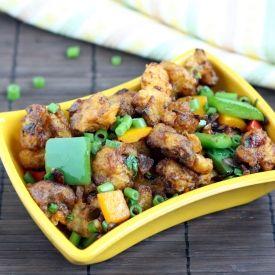 ... very popular Indo- Chinese vegetarian starter- Cauliflower manchurian