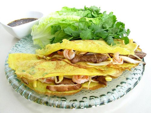 ... vietnamese crêpes filled with shrimp pork bean sprouts and mushrooms