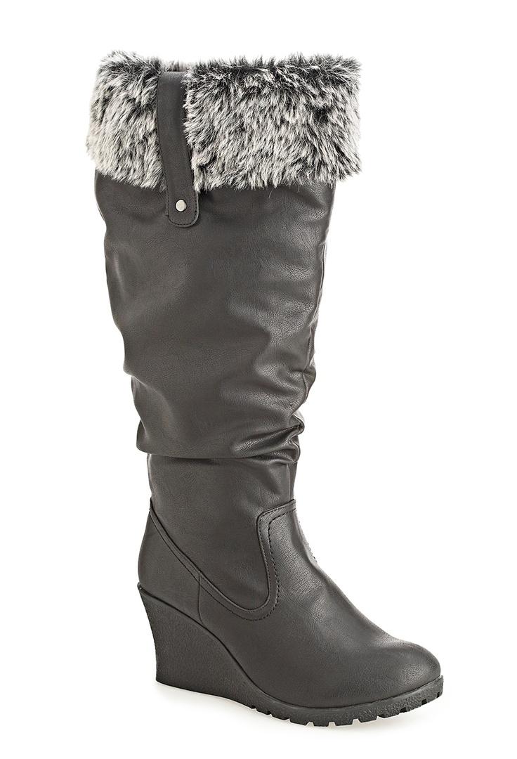 Plus Size Nicole Tall Furry Trim Wedge Boot | Plus Size WW Width Shoes
