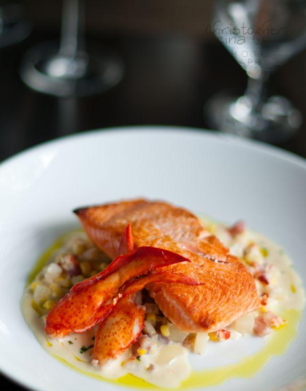 ... Salmon, Lobster-Corn Chowder, Tarragon Oil | ChristopherCina.com