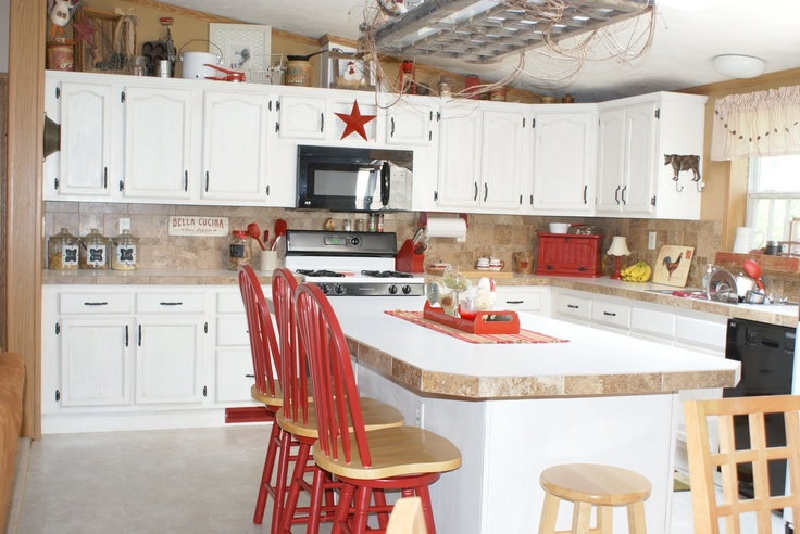 Red accents in white kitchen for the home pinterest - White kitchen red accents ...