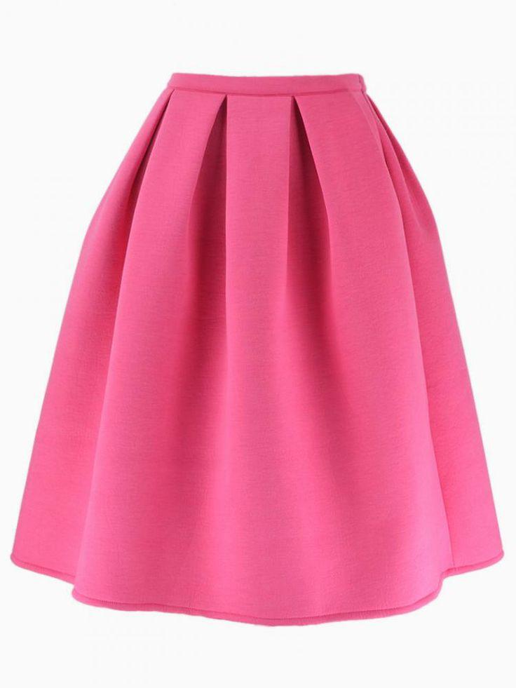 pink pleated midi skirt choies
