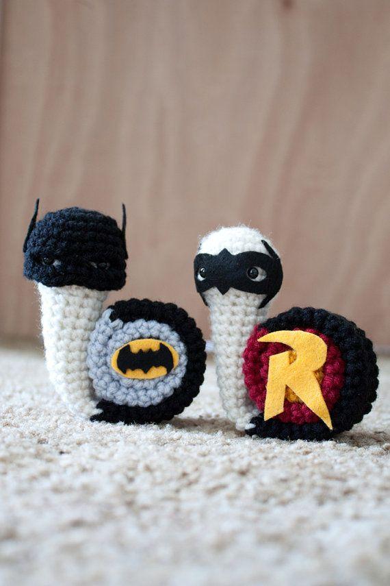 """I'm whatever Gotham needs me to be."" -- superhero snails! #amigurumi #crochet #batman"