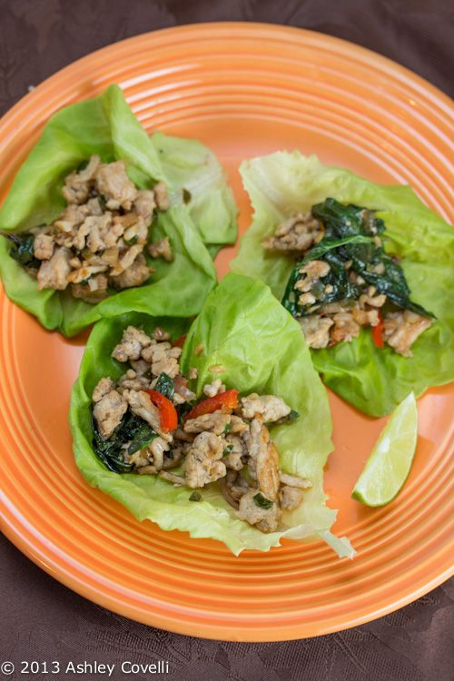 ... Flavors From A Tiny Kitchen: Spicy Thai Basil Chicken Lettuce Wraps