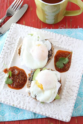Southwestern Eggs Benedict with avocado and black bean spread from ...