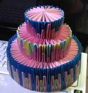 Оригами торта из бумаги