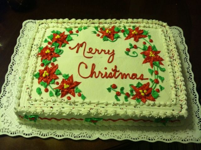 Christmas Sheet Cake Decorating Ideas : Poinsettia Christmas Cake Decorated sheet cake Pinterest