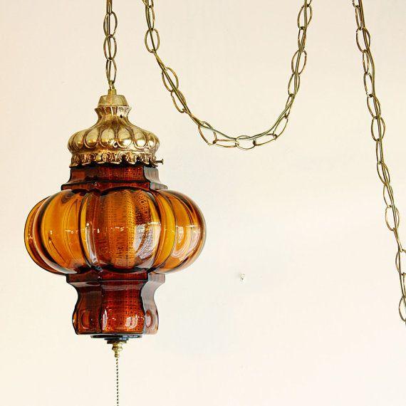 hanging light hanging lamp orange amber globe chain cord swag. Black Bedroom Furniture Sets. Home Design Ideas